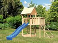 Akubi Spielturm Lotti natur mit Anbauplattform, Netzrampe und Rutsche blau