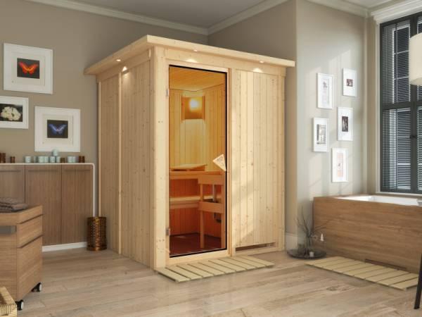 Norin - Karibu Sauna ohne Ofen - mit Dachkranz -