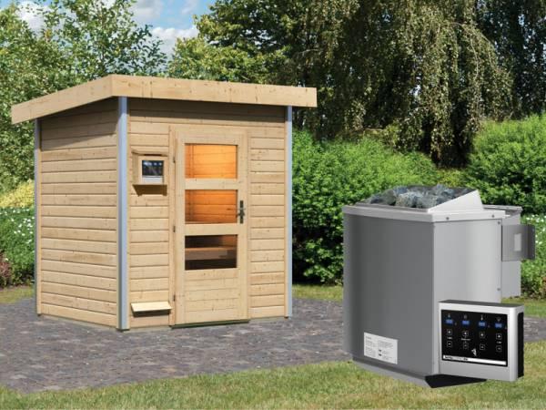 Karibu 38 mm Saunahaus Jorgen - 9 kW Bio Ofen, ext. Steuerung - Moderne Saunatür