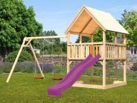 Akubi Spielturm Luis mit Doppelschaukel und Rutsche in violett
