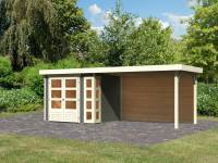 Karibu Woodfeeling Gartenhaus Kerko 3 terragrau mit Anbaudach 2,80 m inkl. Rückwand
