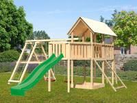 Akubi Spielturm Danny Satteldach + Rutsche grün + Doppelschaukelanbau Klettergerüst + Anbauplattform XL + Netzrampe