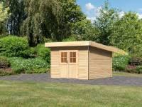Karibu Gartenhaus Moosburg 3 naturbelassen mit klassischer Tür