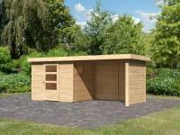 Karibu Woodfeeling Gartenhaus Oburg 3 natur mit Anbaudach 2,8 Meter inkl. Rück- und Seitenwand