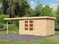 Karibu Woodfeeling Gartenhaus Retola 5 mit Anbauschrank und Anbaudach 2,80 Meter