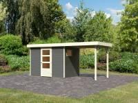 Karibu Woodfeeling Gartenhaus Oburg 4 terragrau mit Anbaudach 2,4 Meter