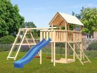 Akubi Spielturm Danny Satteldach + Rutsche blau + Doppelschaukelanbau Klettergerüst + Anbauplattform + Netzrampe