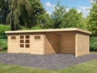 Karibu Gartenhaus Bastrup 10 inkl. Fußboden und Anbaudach 3 m inkl. Rück- und Seitenwand