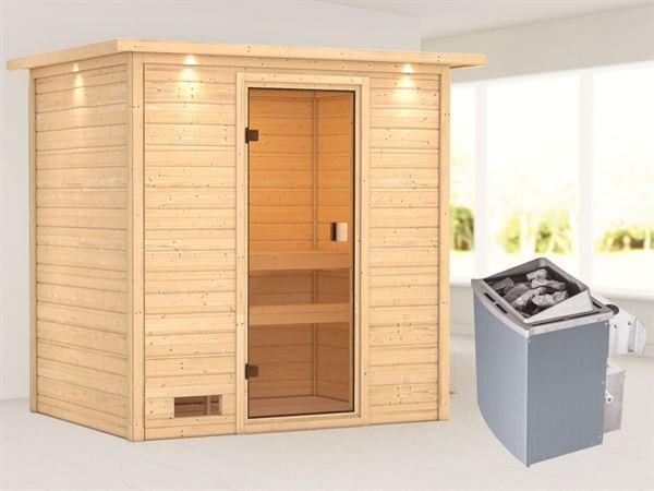 Karibu Sauna Selena mit 9 kW Ofen integr. Strg und Dachkranz 38 mm