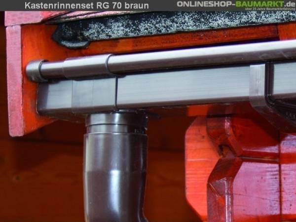 Dachrinnen Set RG 70 braun 600 cm Pultdach