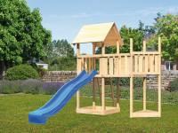 Akubi Spielturm Lotti Satteldach + Rutsche blau + Anbauplattform + Schiffsanbau oben