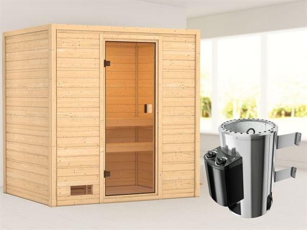 Karibu Sauna Selena mit 3,6 kW Ofen integr. Strg 38 mm