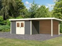 Karibu Gartenhaus Kerpen 5 terragrau inkl. Anbaudach 3,2 m mit Rückwand
