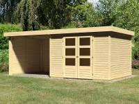 Karibu Woodfeeling Gartenhaus Askola 5 mit Anbaudach 2,75 Meter, Seiten- und Rückwand