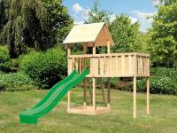 Akubi Spielturm Lotti natur mit Anbauplattform XL und Rutsche grün