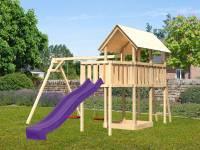 Akubi Spielturm Danny Satteldach + Rutsche violett + Doppelschaukel + Anbauplattform