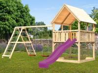 Akubi Spielturm Luis Satteldach + Rutsche violett + Doppelschaukelanbau Klettergerüst