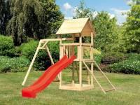 Akubi Spielturm Lotti mit Einzelschaukel, Netzrampe und Rutsche rot
