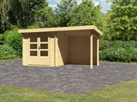 Karibu Woodfeeling Gartenhaus Bastrup 2 mit Anbaudach 2 Meter inkl. Rückwand
