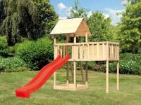 Akubi Spielturm Lotti natur mit Anbauplattform XL und Rutsche rot