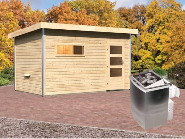 Karibu Aktionssaunahaus Erik 3 38 mm mit 9 kW Ofen integr. Strg. naturbelassen