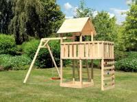 Akubi Spielturm Lotti Satteldach + Einzelschaukel + Anbauplattform + Kletterwand