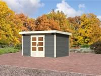 Karibu Aktions Gartenhaus Emden 7 in terragrau mit Fußboden