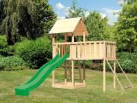 Akubi Spielturm Lotti natur mit Anbauplattform XL, Netzrampe und Rutsche grün