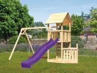 Akubi Spielturm Lotti + Schiffsanbau unten + Doppelschaukel + Kletterwand + Rutsche in violett