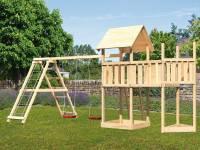Akubi Spielturm Lotti Satteldach + Schiffsanbau oben + Anbauplattform + Doppelschaukel mit Klettergerüst