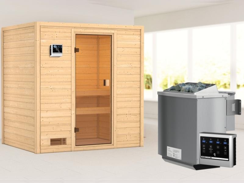 Karibu Sauna Selena mit 9 kW Bioofen ext. Strg 38 mm