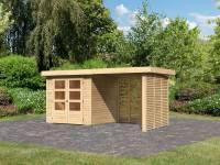 Karibu Woodfeeling Gartenhaus Askola 2 inkl. 2,4 m Anbaudach mit Lamellenwänden