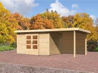 Karibu Aktions Gartenhaus Emden 7 mit Fußboden, Dacheindeckung und Anbaudach 2,6 Meter inkl. Rückwand