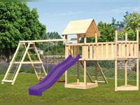 Akubi Spielturm Lotti Satteldach + Schiffsanbau oben + Doppelschaukel mit Klettergerüst + Anbauplattform XL + Netzrampe + Rutsche in violett