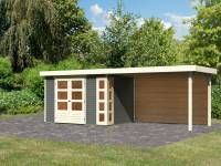 Karibu Woodfeeling Gartenhaus Kerko 4 terragrau mit Anbaudach 2,80 m inkl. Rückwand