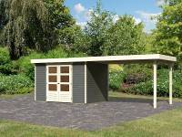 Karibu Gartenhaus Askola 4 terragrau mit Anbaudach 2,80 Meter