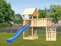 Akubi Spielturm Lotti + Schiffsanbau unten + Anbauplattform XL + Kletterwand + Rutsche blau