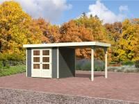 Karibu Gartenhaus Jever 3 in terragrau mit Anbaudach 2,40 Meter inkl. Fußboden und Dacheindeckung