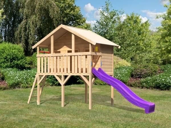 Akubi Spielhaus Sassi mit Rutsche 2,5 m violett und Spielset