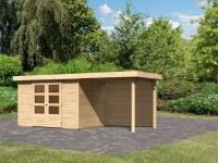 Karibu Woodfeeling Gartenhaus Askola 4 mit Anbaudach 2,4 Meter, Rückwand