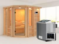 Cortona - Karibu Sauna Premium SPARSET inkl. 9 kW Bio-Ofen