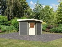 Karibu Woodfeeling Gartenhaus Neuruppin 2 terragrau 28 mm