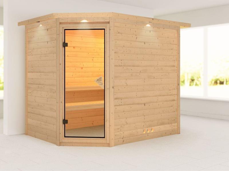 Tanami - Karibu Sauna ohne Ofen - mit Dachkranz -