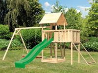 Akubi Spielturm Lotti Satteldach + Rutsche grün + Doppelschaukel + Anbauplattform + Netzrampe