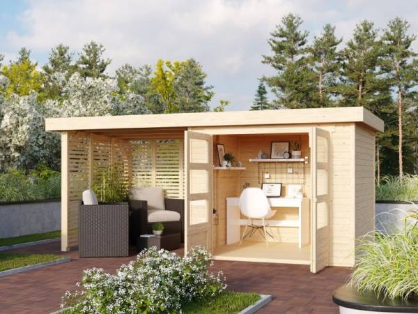 Karibu Woodfeeling Gartenhaus Askola 3 mit Anbaudach 2,4 m mit Lamellenwänden