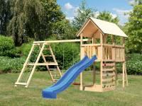 Akubi Spielturm Danny Satteldach + Rutsche blau + Doppelschaukelanbau Klettergerüst + Kletterwand