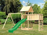 Akubi Spielturm Lotti Satteldach + Rutsche grün + Doppelschaukel + Anbauplattform XL + Kletterwand