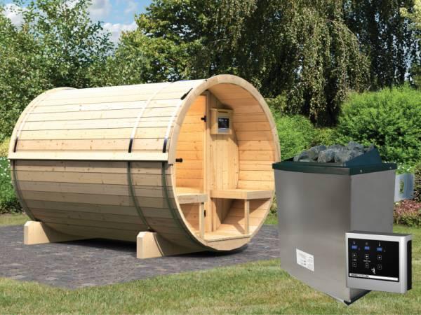 Karibu Fass - Sauna 2 42 mm inkl. 9-kW-Ofen - Saunahaus