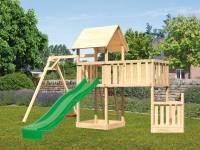 Akubi Spielturm Lotti + Schiffsanbau unten + Anbauplattform XL + Einzelschaukel + Rutsche grün