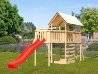 Akubi Spielturm Danny Satteldach + Rutsche rot + Einzelschaukel + Anbauplattform XL + Kletterwand